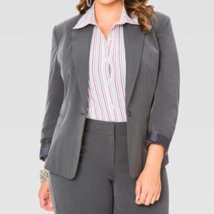 NWT Ashley Stewart Plus Size Gray The Boss Blazer